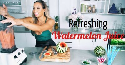 watermelon juice recipe: shelling a watermelon